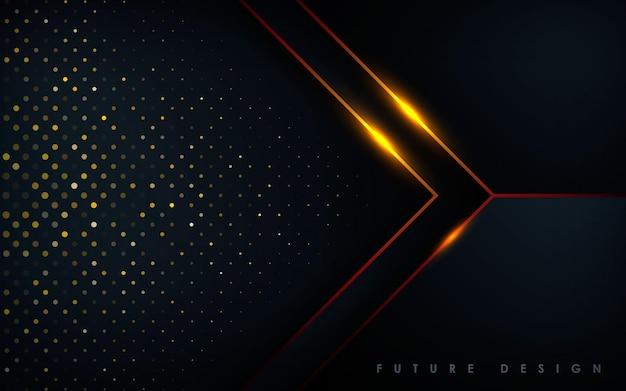 Moderner schwarzer hintergrund mit goldlichteffekt