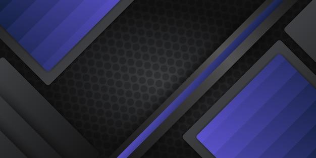 Moderner schwarzer metallischer abstrakter metallhintergrund mit dunkelblauen lichtüberlappungsschichten