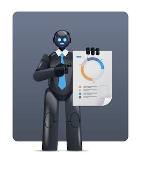 Moderner schwarzer roboter, der statistikdiagramme analysiert, finanzdaten, die künstliche intelligenztechnologie analysieren