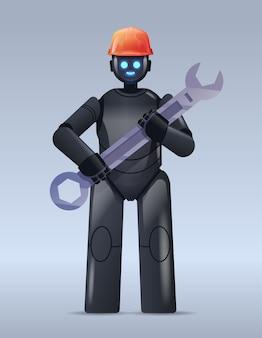 Moderner schwarzer roboter im helm, der schraubenschlüsselreparaturservice künstliche intelligenz hält
