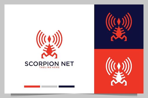 Moderner skorpion mit netzwerklogo-design