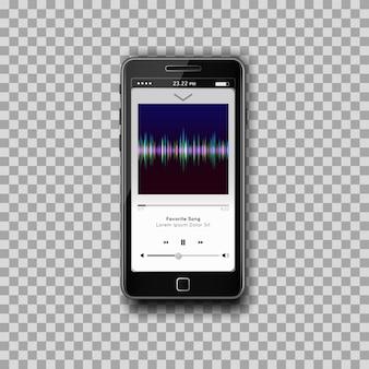 Moderner smartphone mit musikalischem mp3-player auf dem bildschirm. flaches design-template für mobile apps.