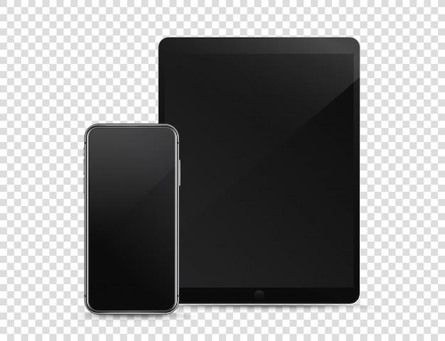 Moderner smartphone und tablet-computer auf transparentem hintergrund