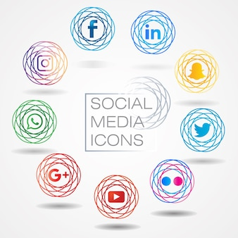 Moderner social media-ikonensatz