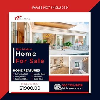 Moderner social media post und banner für immobilien