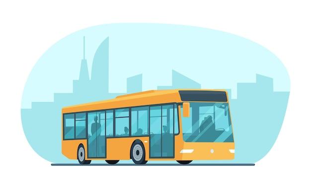 Moderner stadtpassagierbus vor dem hintergrund eines abstrakten stadtbildes