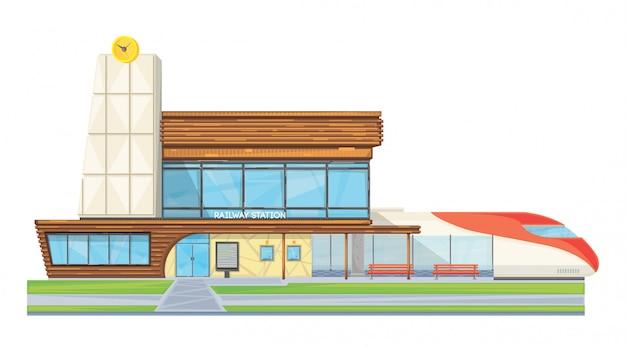 Moderner stahlglasbahnhof, der flaches bild der vorderansicht errichtet