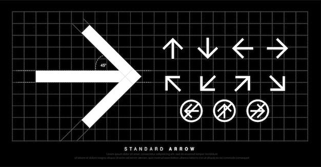 Moderner standardpiktogramm signage der pfeilikone