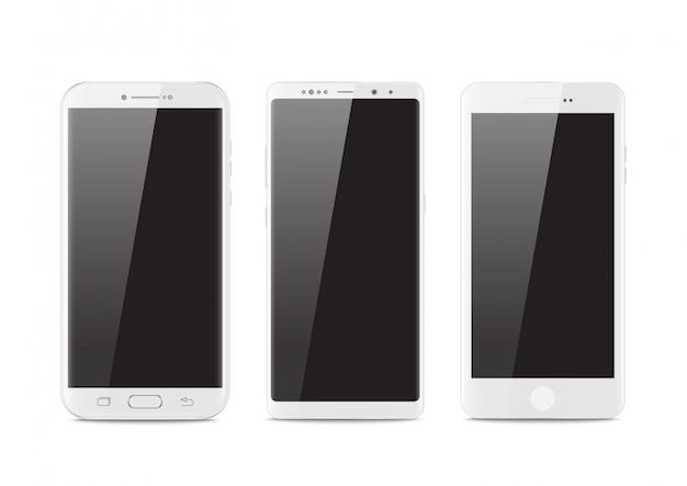 Moderner stil des neuen realistischen mobilen weißen smartphone.