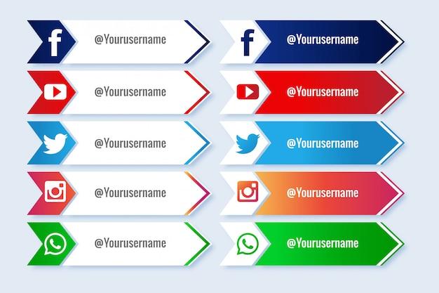 Moderner stil in der sammlung des unteren drittels der sozialen medien