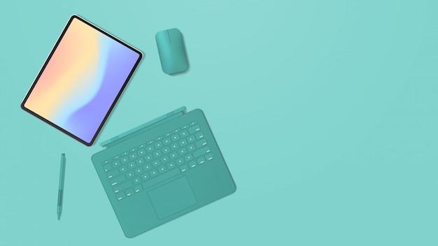Moderner tablet-computer mit tastatur-maus-stift und farbigem bildschirm realistische modell-gadgets und geräte