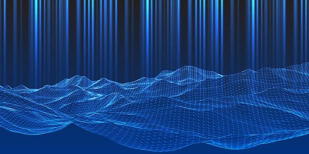 Moderner technohintergrund mit drahtgitter-landschaftsentwurf