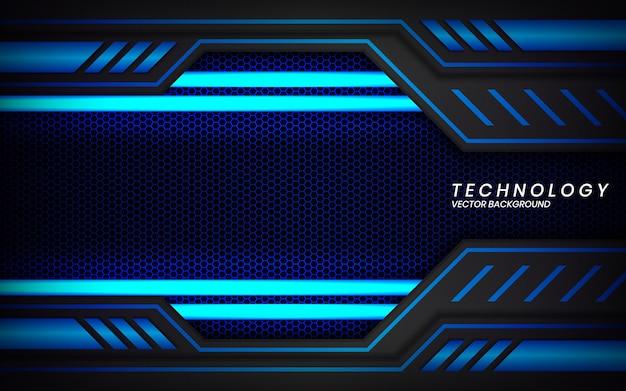 Moderner technologie-designhintergrund des abstrakten metallischen schwarzen blauen rahmenplans