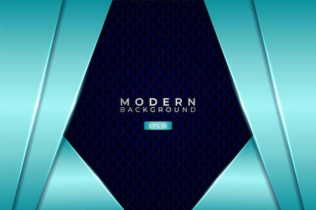 Moderner technologiehintergrund premium futuristisch 3d überlappte diagonale schicht glänzendes hellblaues sechseck