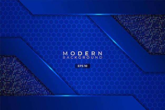 Moderner technologiehintergrund premium futuristisch elegant 3d shiny blue hexagon mit glitzer