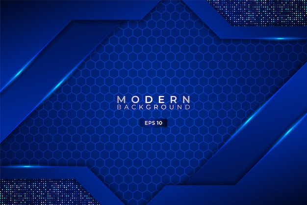 Moderner technologiehintergrund premium futuristischer diagonal 3d shiny blue hexagon mit glitzer