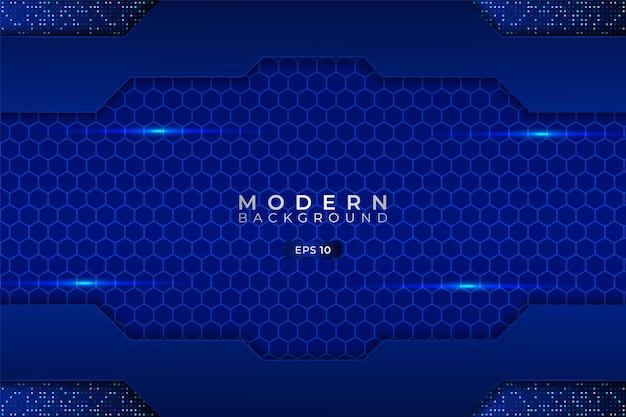 Moderner technologiehintergrund premium futuristisches 3d glänzendes blaues sechseck mit elegantem glitzer
