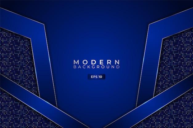 Moderner technologiehintergrund premium futuristisches blaues 3d-hexagon mit elegantem glitzer