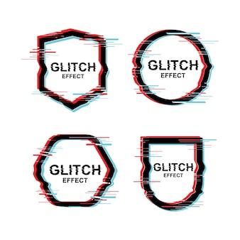 Moderner text-design-rahmen mit störschub-effekt-vektor