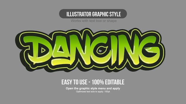 Moderner texteffekt des grünen 3d-graffiti
