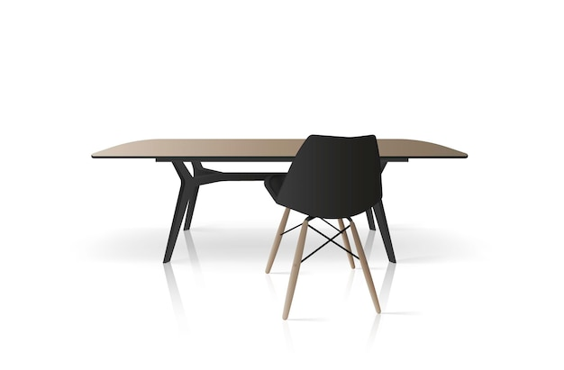 Moderner tisch und stuhl im loftstil. ein tisch mit einer hölzernen tischplatte und schwarzen beinen. schwarzer sessel. isoliert. .