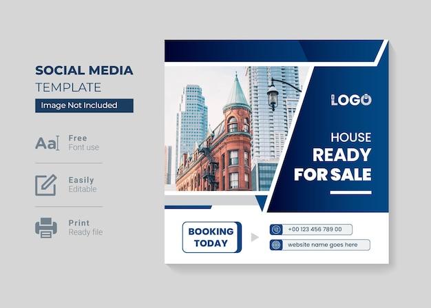 Moderner und farbenfroher instagram-post für immobilien oder quadratische webbanner-vorlage