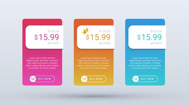 Moderner und übersichtlicher preistabellenplan mit lebendigen verlaufsfarben für web- und mobilanwendungen.