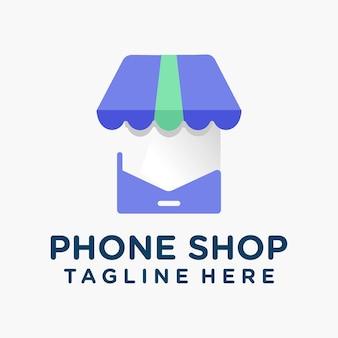 Moderner und verspielter telefon-shop-logo-vektor