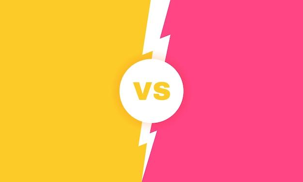 Moderner versus kampfhintergrund. vs kampf schlagzeile mit blitz. wettbewerbe zwischen teilnehmern, kämpfern oder teams. illustration.