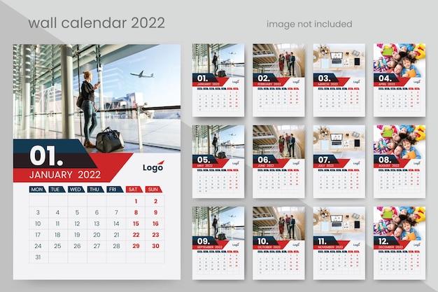 Moderner wandkalender 2022 mit roten kreativen vektorakzenten