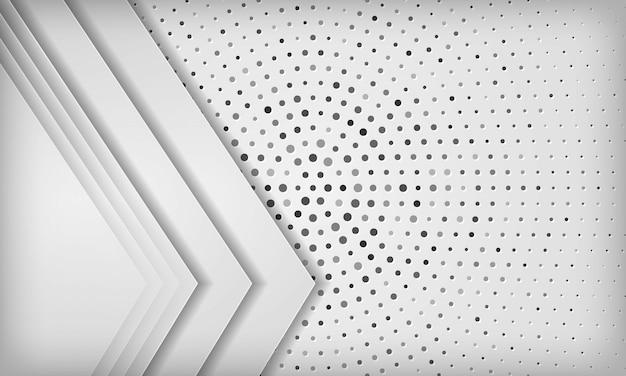 Moderner weißer abstrakter hintergrund mit deckschicht auf kreishalbtonbeschaffenheit.