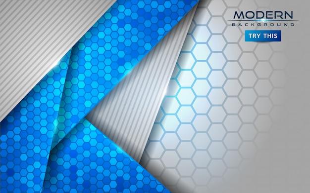 Moderner weißer und blauer abstrakter hintergrund mit glänzenden linien effekt