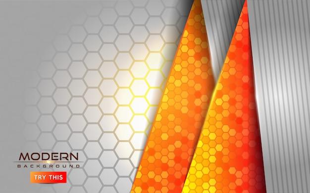 Moderner weißer und orange abstrakter hintergrund mit glänzenden linien effekt