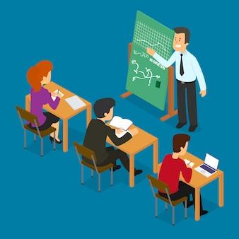 Moderner wirtschaftslehrer, der einer gruppe von mitarbeitern vorträge oder präsentationen hält.