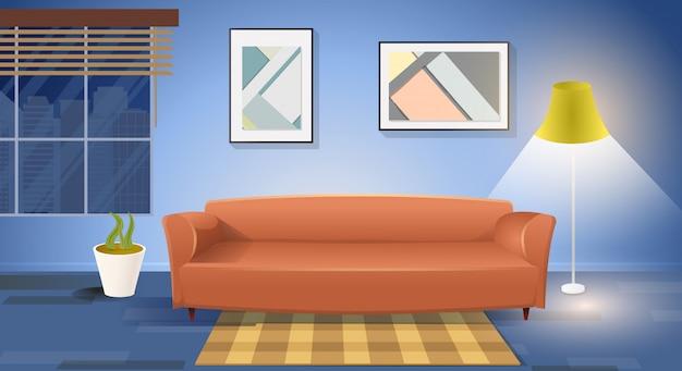 Moderner wohnzimmer-innenkarikatur-vektor