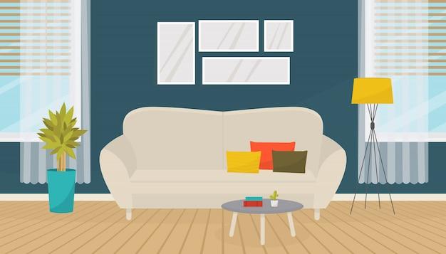 Moderner wohnzimmerinnenraum mit möbeln. sofa, bilder an der wand, zimmerpflanzen, stehlampe. gemütliche wohnung. flaches design.