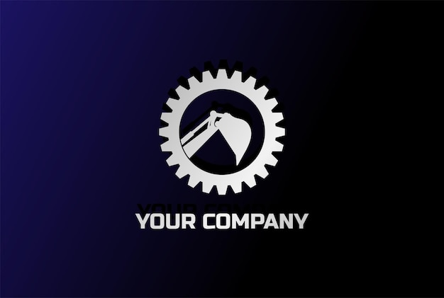 Moderner zahnradbagger-bagger-bergbau-logo-design-vektor