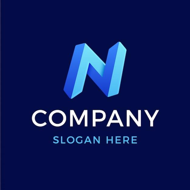 Modernes 3d-logo mit farbverlauf buchstabe n