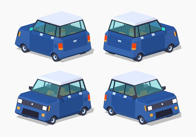 Modernes 3d-lowpoly-isometrisches hatchback