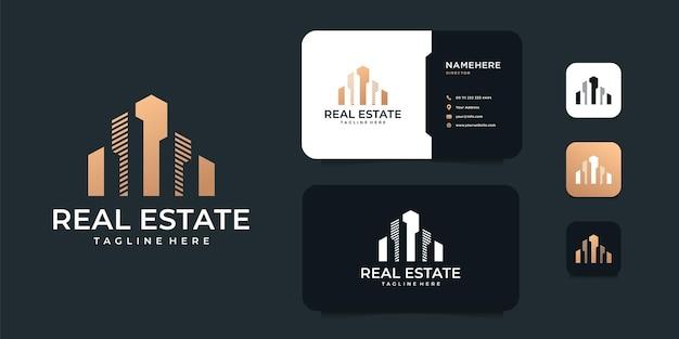 Modernes abstraktes baugebäude immobilienhaus logo design.