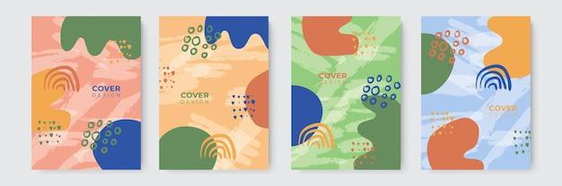 Modernes abstraktes cover-set, minimalistisches cover-design. bunter geometrischer hintergrund, vektorillustration.