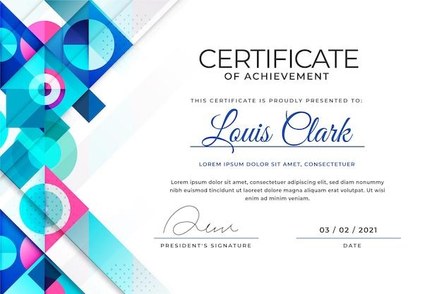 Modernes abstraktes design der zertifikatsvorlage