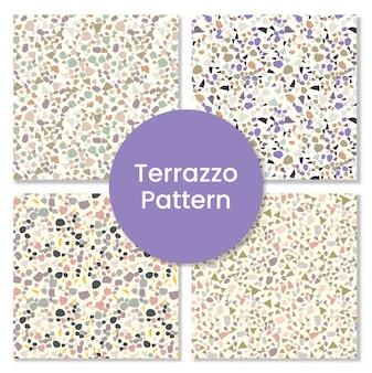 Modernes abstraktes terrazzomuster mit granitformen.