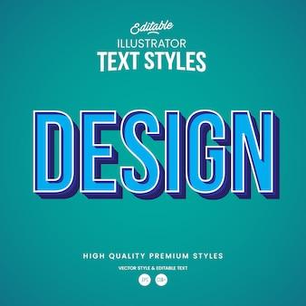 Modernes abstraktes texteffekt des blauen entwurfs bearbeitbarer grafikstil