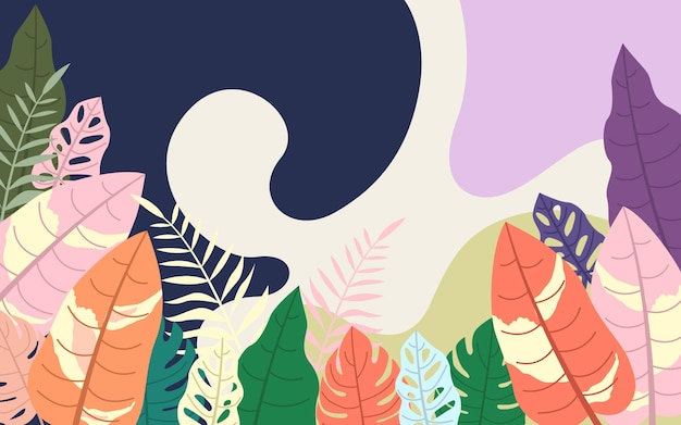 Modernes abstraktes tropisches blumenmonstera verlässt design