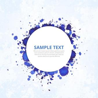 Modernes abzeichen mit blauen tinte spritzt