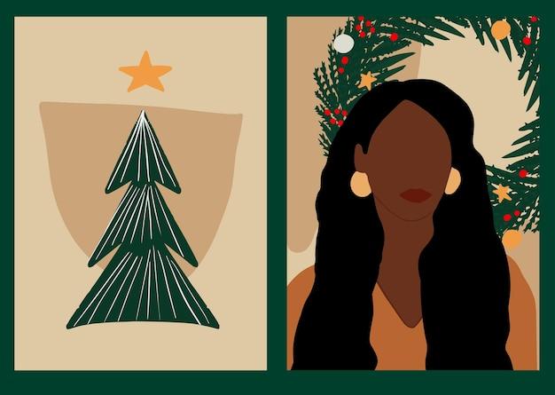 Modernes afroamerikanisches frauenporträt im minimalen boho-stil weihnachten abstraktes weibliches poster