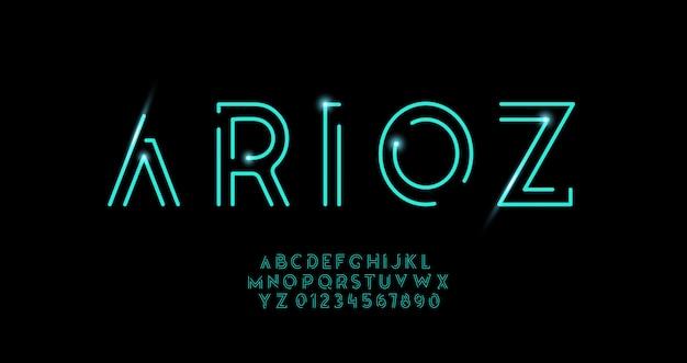 Modernes alphabet der abstrakten städtischen dünnen linie neonschriftart