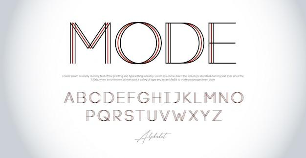 Modernes alphabet dünne linie schriftarten. großbuchstaben der städtischen schriftart der typografie