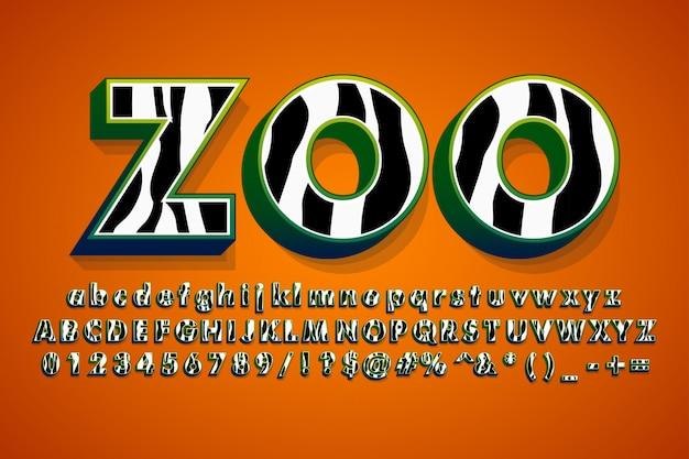 Modernes alphabet mit zebrahautmuster